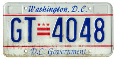 1991 base D.C. Government plate no. GT-4048