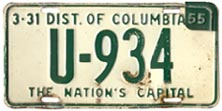 1953 Passenger plate no. U-934 revalidated for 1954
