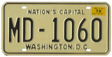 1968 (exp. 3-31-69, validated for 1969 (exp. 3-31-70)) Medical Doctor plate no. MD-1060