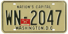 1968 (exp. 3-31-69) Diplomatic Staff plate  no. WN-2047 validated for 1970 (exp. 3-31-71)