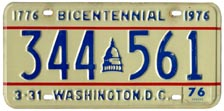 1974 Passenger plate no. 344-561 validated for 1975-76 (exp. 3-31-76)