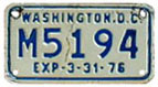 1975 (exp. 3-31-76) motorcycle plate no. M5194