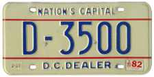 1978 base Dealer plate no. D-3500