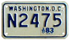 c.1978 base motorcycle plate no. N2475 validated for 1982 (exp. 3-31-83)