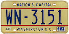 1978 base Diplomatic Staff plate no. WN-3151
