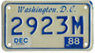 1984 base motorcycle plate no. 2923M validated for 1987 (exp. Dec. 1988)