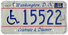 1991 base handicapped person plate no. 15522