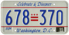 1991 Passenger plate no. 678-370 validated for 1994-1995 (exp. June 1995)