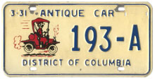 First-issue Antique Car plate no. 193-A