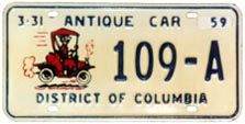 First-issue Antique Car plate no. 109-A validated with a 1958 tab
