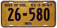 "1946 (exp. 3-31-47) Bus plate no. 26-580. ""AGL660"" stamped on the front indicates that it was used by American Greyhound Lines on its bus no. 660, which was a 1937 Yellow Coach model 743."