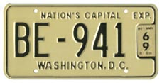 1965 (exp. 3-31-66) Bus plate no. BE-941 validated for 1968 (exp. 3-31-69)