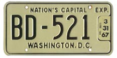 1965 (exp. 3-31-66) Bus plate no. BD-521 validated for 1966 (exp. 3-31-67)