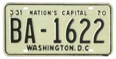 1969 (exp. 3-31-70) Bus plate no. BA-1622