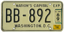1965 (exp. 3-31-66) Bus plate no. BB-892 validated through the 1969 registration year (exp. 3-31-70)
