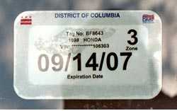 Registration validation sticker for the vehicle and license plate pictured