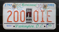 City Bicentennial plate no. 200-OIE