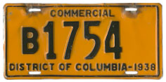 1938 Commercial (Truck) plate no. B 1754