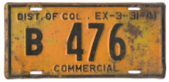 1940 Commercial plate no. B 476