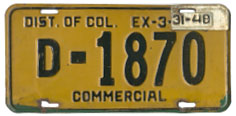 1946 Commercial plate no. D-1870 validated for 1947
