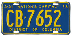 1957 Commercial (Truck) plate no. CB-7652
