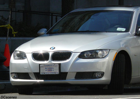 A BMW registered with a plate marked DC Council At Large A on March 17, 2009, near the District Building.