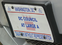 Plate marked DC Council At Large A
