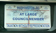 Special license plate for members of the D.C. Council elected at large