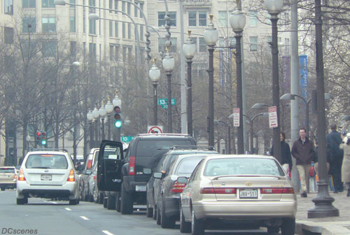 March 17, 2009, scene on Pennsylvania Ave., NW, near the District Building.
