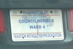 Plate issued to the D.C. Council member elected from Ward 4.
