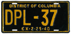1939 (exp. 2-29-40) Diplomatic plate no. 37