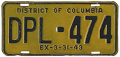 1942 (exp. 3-31-43) Diplomatic plate no. 474
