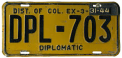 1942 (dated to expire 3-31-43 and revalidated to expire 3-31-44) Diplomatic plate no. 703