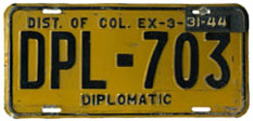 1942 Diplomatic plate no. 703 validated for 1943