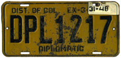 1946 (dated to expire 3-31-47 and revalidated to expire 3-31-48) Diplomatic plate no. 1217