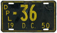 1950 (exp. 3-31-51) Diplomatic plate no. 36