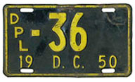 1950 Diplomatic plate no. 36