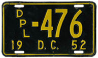 1952 (exp. 3-31-53) Diplomatic plate no. 476