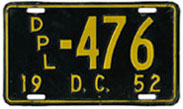 1952 Diplomatic plate no. 476