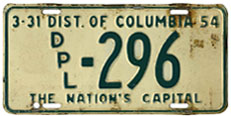 1953 (exp. 3-31-54) Diplomatic plate no. 296