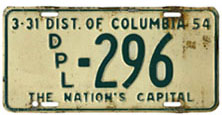 1953 Diplomatic plate no. 296