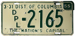 1953 (exp. 3-31-54) Diplomatic plate no. 2165 revalidated for 1954 (exp. 3-31-55)