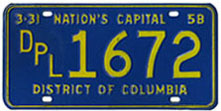 1957 Diplomatic plate no. 1672