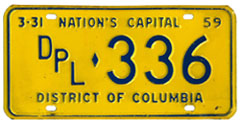 1958 (exp. 3-31-59) Diplomatic plate no. 336