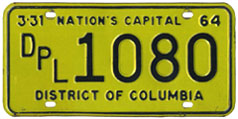 1963 (exp. 3-31-64) Diplomatic plate no. 1080