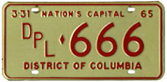 1964 (exp. 3-31-65) Diplomatic plate no. 666