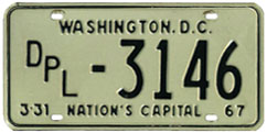 1966 (exp. 3-31-67) Diplomatic plate no. 3146