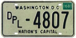 1967 (exp. 3-31-68) Diplomatic plate no. 4807