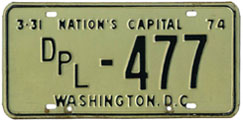 1973 (exp. 3-31-74) Diplomatic plate no. 477