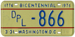 1974 (exp. 3-31-75) Diplomatic plate no. 866